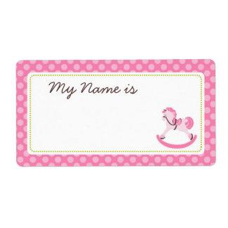 Rocking Horse Girl Name Tag Shipping Label