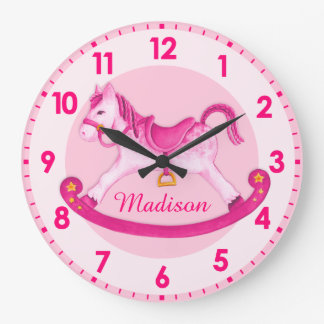 Rocking horse nursery named girls pink clock