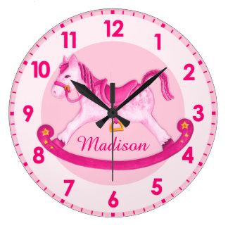 Rocking horse nursery named girls pink clock