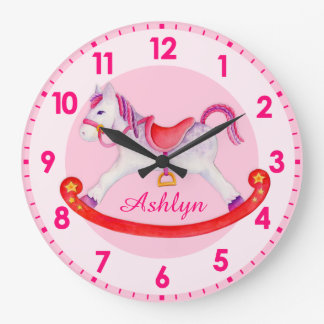 Rocking horse nursery named kids clock