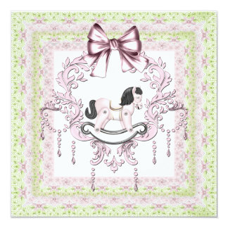 Rocking Horse Pink and Green Baby Girl Shower Card