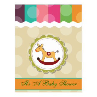 Rocking Horse Polka Dots Baby Shower Postcard
