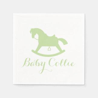 Rocking Horse Silhouette Baby Shower Napkins Green Disposable Serviette