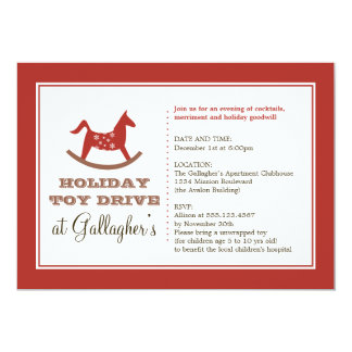 Rocking horse toy drive christmas holiday charity 13 cm x 18 cm invitation card