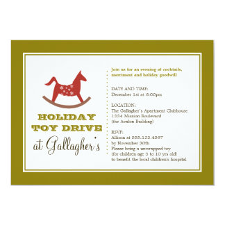 Rocking horse toy drive christmas holiday charity 5x7 paper invitation card