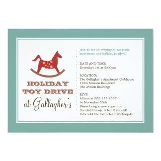 """Rocking horse toy drive christmas holiday charity 5"""" x 7"""" invitation card"""