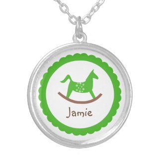 Rocking horse toy green baby keepsake holiday personalized necklace