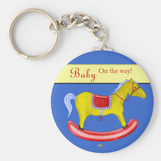 Rocking Horse - Traditional Toys (Primary Colours) Basic Round Button Key Ring