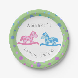Rocking Horse Twins Baby Shower Party Paper Plate