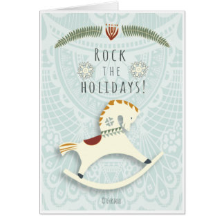 "Rocking horse v2 Christmas ""Rock the holidays"" Card"