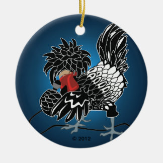 Rocking Polish Crested Chicken Ceramic Ornament