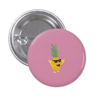 rock'n'roll pineapple 3 cm round badge