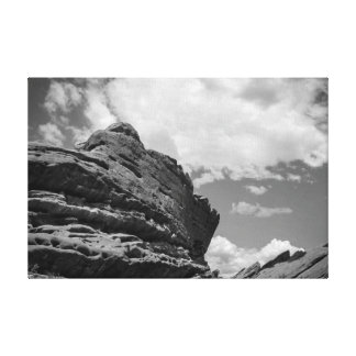 Rocks & Clouds - Colorado Black and White Canvas Print