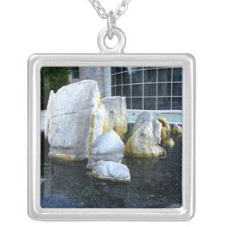 Rocks In A Fountain Square Pendant Necklace