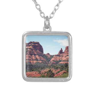 Rocks near Sedona, Arizona Silver Plated Necklace