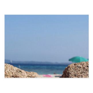Rocks of Tavolara island on blurred background Postcard