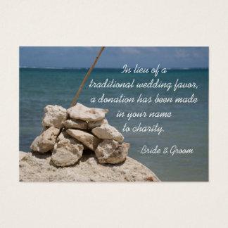 Rocks on Beach Wedding Charity Favor Card