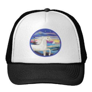 Rocks-Sea-White Arabian Horse Cap