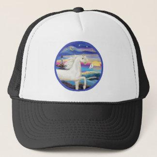 Rocks-Sea-White Arabian Horse Trucker Hat