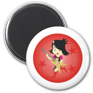 Rockstar Emo Girl With Guitar Red 6 Cm Round Magnet