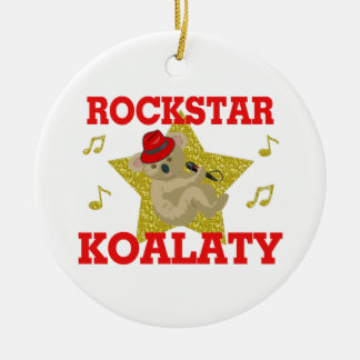 Rockstar Koalaty Singing Party Animal Round Ceramic Decoration