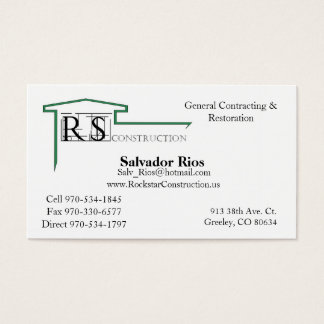 ROCKSTAR Logo, Rockstar Construction, Eric Andr... Business Card