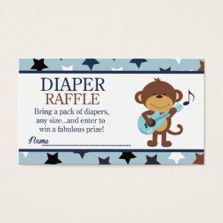 Rockstar Monkey Baby Shower Diaper Raffle Business Card