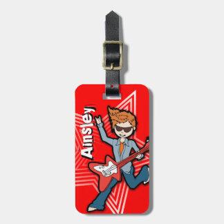 Rockstar red kids id luggage tag