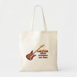 Rockstars are born in Latvia Canvas Bags