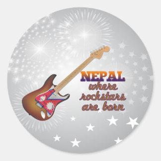 Rockstars are born in Nepal Classic Round Sticker