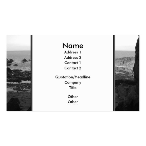 Rocky Beach. Scenic Coastal View. Black and White. Business Cards