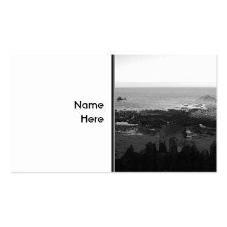 Rocky Beach Scenic Coastal View Black and White Business Card Templates