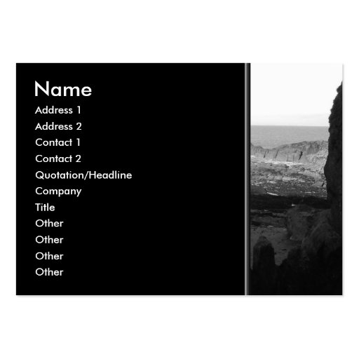 Rocky Beach. Scenic Coastal View. Black and White. Business Card Templates