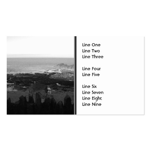 Rocky Beach. Scenic Coastal View. Black and White. Business Card Template
