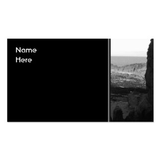 Rocky Beach Scenic Coastal View Black and White Business Card