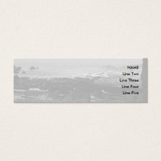 Rocky Beach. Scenic Coastal View. Black and White. Mini Business Card