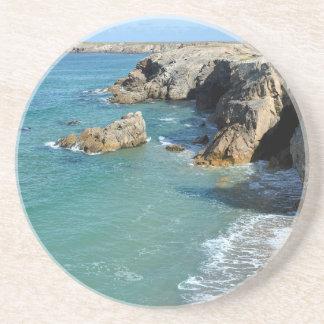Rocky coast at Quiberon peninsula in France Coaster