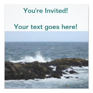 Rocky Coast in York Maine 13 Cm X 13 Cm Square Invitation Card