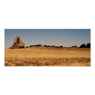 Rocky Craggy Butte Shiprock New Mexico USA Poster