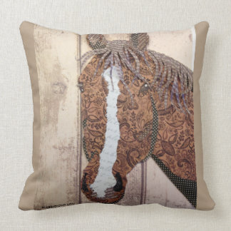 "Rocky Horse Collage 20""x20"" Cotton Throw Pillow"
