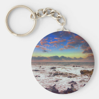 Rocky Island Beach Sunset Key Ring