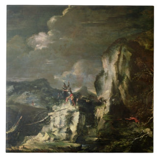 Rocky Landscape with a Huntsman and Warriors (oil Large Square Tile