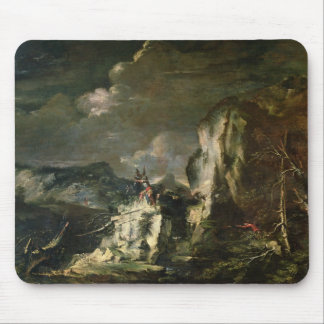 Rocky Landscape with a Huntsman and Warriors (oil Mouse Pad