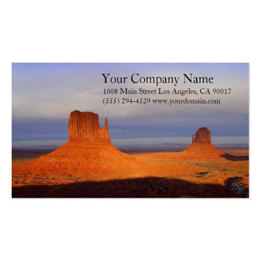 Rocky Monument Desert Blue Sky Sunrise Sunset Business Card Template