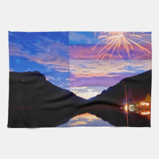 Rocky Mountain American Fireworks Show Hand Towel