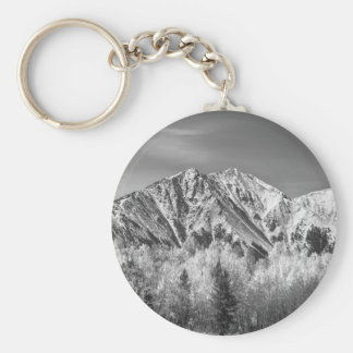 Rocky Mountain Autumn High In Black and White Key Ring