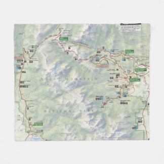 Rocky Mountain (Colorado) map fleece blanket
