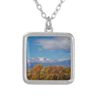Rocky Mountain Front Range Colorful View Silver Plated Necklace