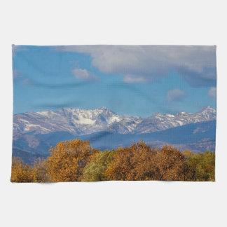 Rocky Mountain Front Range Colorful View Tea Towel