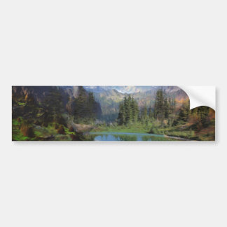 Rocky Mountain Oil Painting Greeting Cards Bumper Sticker